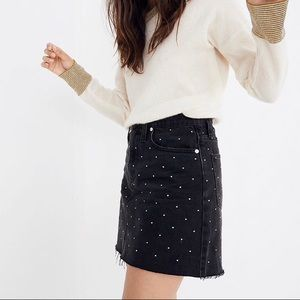 Madewell Denim A-Line Mini Skirt Metallic Dots